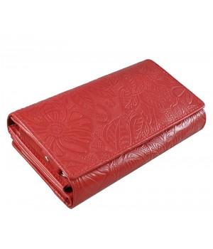 Piros, nyomott leveles-virágos mintás, két oldalas női bőr pénztárca 8674-2