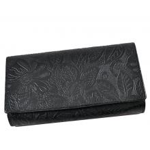 Fekete, nyomott leveles-virágos mintás, két oldalas női bőr pénztárca 8674-2