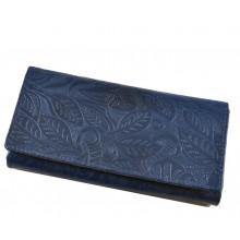 Nyomott virágos-leveles mintás, kék  nagy női bőr pénztárca 8671-2