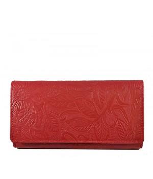Nyomott leveles mintás, piros nagy női bőr pénztárca 8671-2