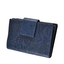 Leveles-virágos nyomott mintás közepes kék női pénztárca 8673-2