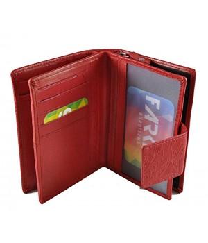 Leveles-virágos nyomott mintás közepes piros női pénztárca 8673-2