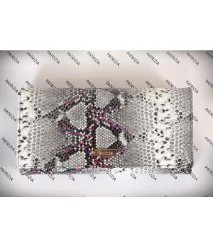 Patrizia RF védett hosszú, csillogó piton mintás irattartós pénztárca SN122