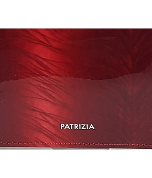 Patrizia RF védett hosszú, toll mintás, irattartós brillant piros pénztárca FF122