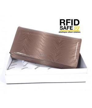 Patrizia RF védett hosszú, toll mintás, irattartós tóp lakk pénztárca FF122