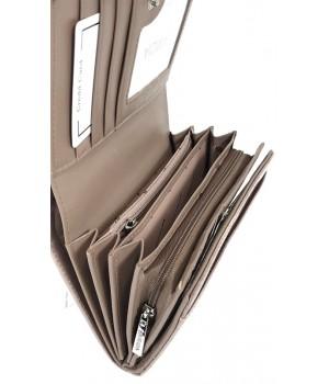 Patrizia RF védett közepes, toll mintás, belső zippes  tóp lakk pénztárca FF112