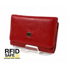 BLACKLINE RF védett, kis méretű, három részes piros női pénz és irattartó tárca W7627-5