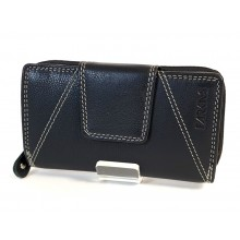Trapéz nyelves, dísztűzött fekete RFID védett női pénztárca SCM4444