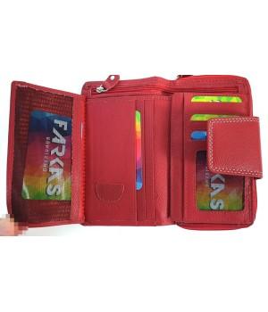 Trapéz nyelves, dísztűzött piros RFID védett női pénztárca SCM4444