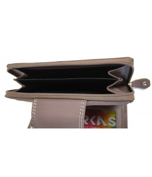 Trapéz nyelves, dísztűzött tóp RFID védett női pénztárca SCM4444